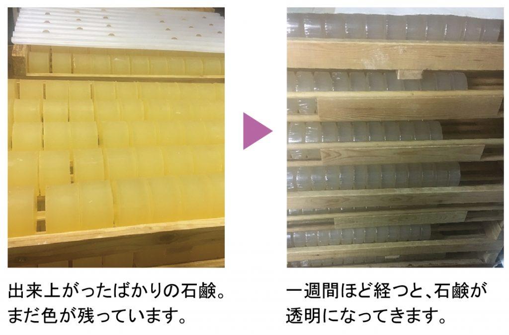 デリケートゾーン石鹸の熟成。石鹸は完成までに約3ヶ月かかります。丁寧に石鹸表面の艶を出すための仕上げ拭きを行います。